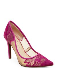 Jessica Simpson   Pink Vivid Orchid Camba Lace Pointed Toe Pumps   Lyst