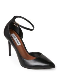 Steve Madden | Black Tifannie Ankle Strap Pointed Toe Pumps | Lyst