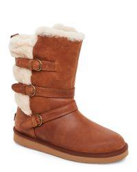 UGG | Brown Chestnut Becket Sheepskin-Trim Boots | Lyst