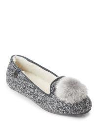 BEARPAW | Gray Grey Shae Real Fur Pom-Pom Slippers | Lyst