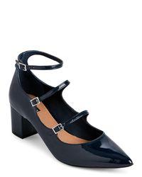 Tahari | Blue Preppy Navy Rebecca Block Heel Pumps | Lyst