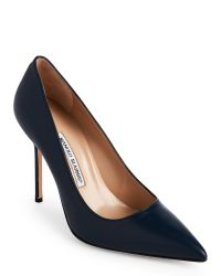 Manolo Blahnik   Blue Navy Bb Pointed Toe Leather Pumps   Lyst