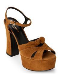 Saint Laurent | Green Olive Candy Suede Chunky Platform Sandals | Lyst