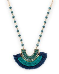 pannee by panacea - Multicolor Half-moon Pendant Beaded Necklace - Lyst