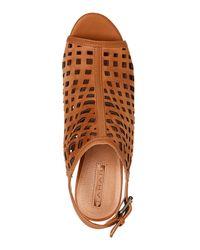 Tahari - Brown Maple Evalyn Laser-Cut Peep Toe Slingback Booties - Lyst