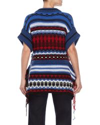 Sonia Rykiel - Blue Pattern V-neck Stringy Top - Lyst