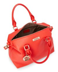 Versace - Red Coral Pebbled Leather Satchel - Lyst