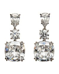 Fantasia by Deserio | Metallic 14K White Gold-Plated Cubic Zirconia Drop Earrings | Lyst