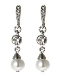 Givenchy | Metallic Silver-Tone & Faux Pearl Drop Earrings | Lyst