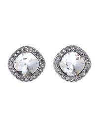 Givenchy | Metallic Silver-Tone Button Stud Earrings | Lyst