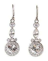 Givenchy | Metallic Round Crystal Silver-Tone Drop Earrings | Lyst