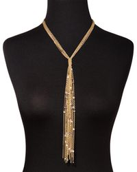 Carol Dauplaise - Metallic Gold-Tone Multi Chain Tassel Necklace - Lyst