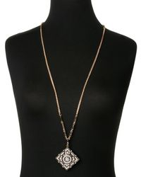 Natasha Couture - Metallic Gold-Tone Square Accented Pendant Necklace - Lyst