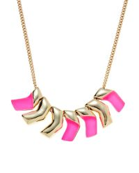 Alexis Bittar | Multicolor Golden Luna & Pink Small Chevron Bib Necklace | Lyst