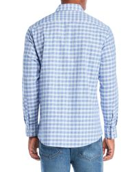 Michelsons Of London - Blue Dobby Twill Checkered Shirt for Men - Lyst