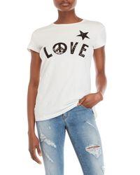 Love Moschino - White Sequin Logo Tee - Lyst