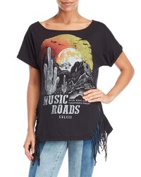 colcci - Black Fringe Graphic Music Tee - Lyst