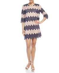 BCBGMAXAZRIA - Blue Wavy Lace Shift Dress - Lyst