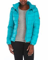 Save The Duck - Blue Packable Hooded Jacket - Lyst