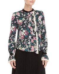 Manoush - Black Floral Ruffled Linen Shirt - Lyst
