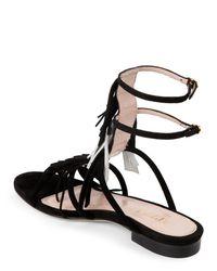 Aperlai - Black Angeline Suede Fringe Sandals - Lyst