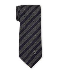 Versace Blue Multi Color Silk Pinstripe Dot Tie for men
