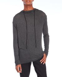 Masnada - Gray Hooded Jersey Knit T-Shirt for Men - Lyst