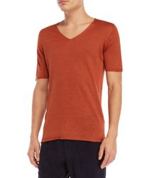 Roberto Collina - Orange V-neck Short Sleeve Sweater for Men - Lyst