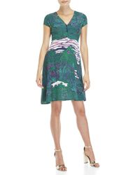 Ottod'Ame - Blue Printed Fit & Flare Dress - Lyst
