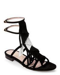 Aperlai | Black Angeline Suede Fringe Sandals | Lyst