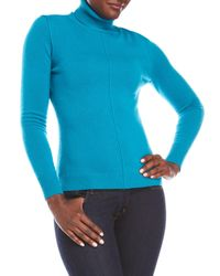 In Cashmere - Blue Ribbed Cashmere Turtleneck Sweater - Lyst
