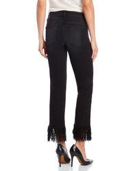 Flying Monkey - Black Cropped Fringe Hem Jeans - Lyst
