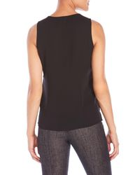 Sioni | Black Sleeveless Overlay Top | Lyst