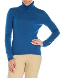 Qi - Blue Turtleneck Cashmere Sweater - Lyst