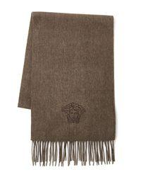 Versace - Brown Medusa Wool Scarf - Lyst