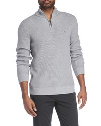 Tommy Hilfiger - Gray Knit Harrington Sweater for Men - Lyst