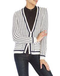 Shae - White Stripe Boyfriend Cardigan - Lyst