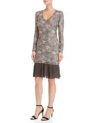 GAUDI - Gray Lurex Camo Pleated Hem Knit Dress - Lyst