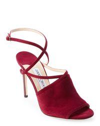Jimmy Choo - Red Dark Wine Flora Crisscross Peep Toe Shoes - Lyst