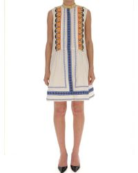 Tory Burch - Multicolor Embroidery Detail Sleeveless Dress - Lyst