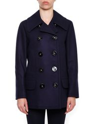 Dolce & Gabbana - Blue Double Breasted Appliqué Coat - Lyst