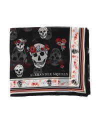 Alexander McQueen - Black Skull Print Scarf - Lyst