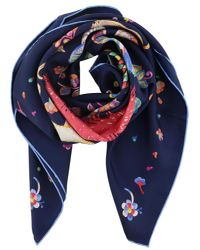 Ferragamo - Blue Dog Print Silk Scarf - Lyst