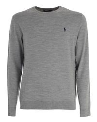 Polo Ralph Lauren - Gray Embroidered Logo Sweater for Men - Lyst