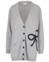 RED Valentino - Gray Grey Bow-appliquéd Wool-blend Cardigan - Lyst