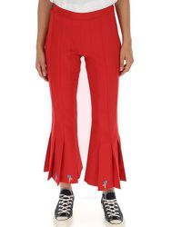 Marco De Vincenzo - Embroidered Cropped Flare Pants - Lyst