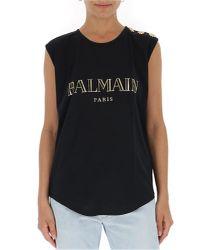Balmain - Black Logo-print Cotton Tank - Lyst
