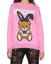 Moschino - Pink Playboy Teddy Jumper - Lyst