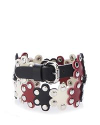 RED Valentino - Multicolor Studded Flower Leather Wrap Bracelet - Lyst