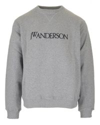 J.W. Anderson - Gray Embroidered Logo Sweater for Men - Lyst